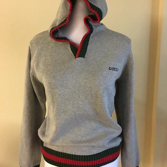 fed5a0bc Gucci Sweaters | Grey Knit Hoodie | Poshmark